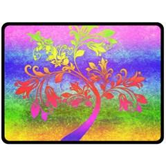 Tree Colorful Mystical Autumn Fleece Blanket (large)  by Nexatart