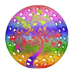 Tree Colorful Mystical Autumn Ornament (round Filigree) by Nexatart