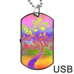 Tree Colorful Mystical Autumn Dog Tag Usb Flash (two Sides) by Nexatart