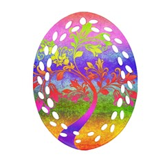 Tree Colorful Mystical Autumn Oval Filigree Ornament (two Sides) by Nexatart