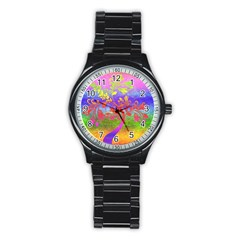 Tree Colorful Mystical Autumn Stainless Steel Round Watch by Nexatart