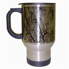 Tree Knots Bark Kaleidoscope Travel Mug (silver Gray) by Nexatart