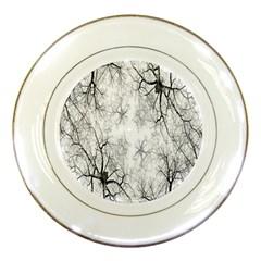 Tree Knots Bark Kaleidoscope Porcelain Plates by Nexatart