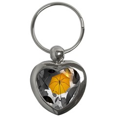 Umbrella Yellow Black White Key Chains (heart)