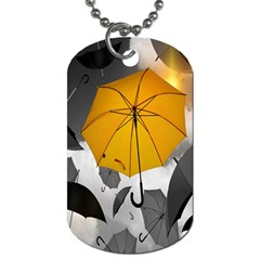 Umbrella Yellow Black White Dog Tag (one Side) by Nexatart