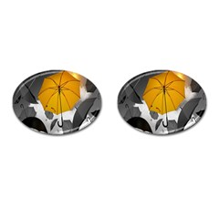Umbrella Yellow Black White Cufflinks (oval) by Nexatart