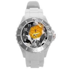 Umbrella Yellow Black White Round Plastic Sport Watch (l)