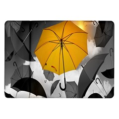 Umbrella Yellow Black White Samsung Galaxy Tab 10 1  P7500 Flip Case by Nexatart