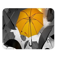 Umbrella Yellow Black White Double Sided Flano Blanket (large)