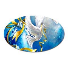 Turtle Doves Christmas Oval Magnet by Nexatart