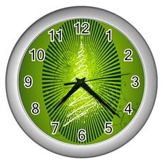 Vector Chirstmas Tree Design Wall Clocks (silver)  by Nexatart