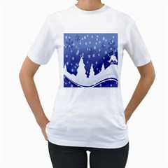 Vector Christmas Design Women s T Shirt (white) (two Sided)