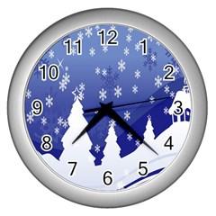 Vector Christmas Design Wall Clocks (silver)  by Nexatart