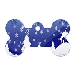 Vector Christmas Design Dog Tag Bone (one Side)