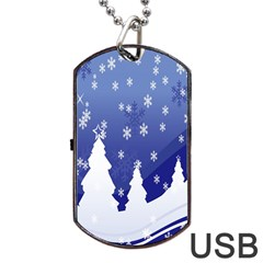Vector Christmas Design Dog Tag Usb Flash (two Sides) by Nexatart