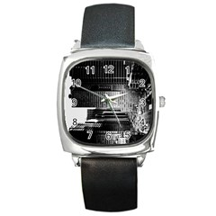 Urban Scene Street Road Busy Cars Square Metal Watch by Nexatart