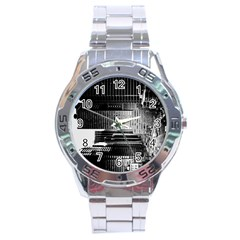 Urban Scene Street Road Busy Cars Stainless Steel Analogue Watch by Nexatart