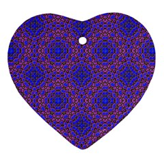 Tile Background Image Pattern Heart Ornament (two Sides)