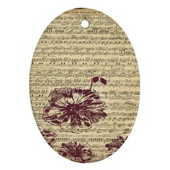 Vintage Music Sheet Song Musical Oval Ornament (two Sides) by Nexatart
