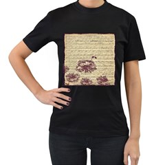 Vintage Music Sheet Song Musical Women s T Shirt (black)