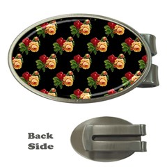 Vintage Roses Wallpaper Pattern Money Clips (oval)  by Nexatart