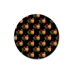 Vintage Roses Wallpaper Pattern Rubber Round Coaster (4 Pack)