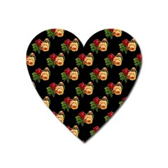 Vintage Roses Wallpaper Pattern Heart Magnet by Nexatart