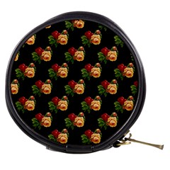 Vintage Roses Wallpaper Pattern Mini Makeup Bags