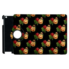 Vintage Roses Wallpaper Pattern Apple Ipad 2 Flip 360 Case
