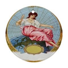 Vintage Art Collage Lady Fabrics Ornament (Round)