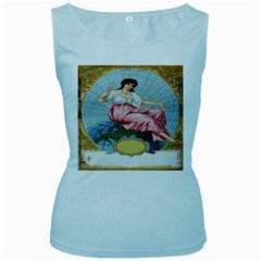 Vintage Art Collage Lady Fabrics Women s Baby Blue Tank Top