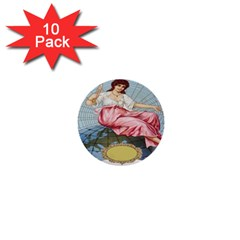 Vintage Art Collage Lady Fabrics 1  Mini Buttons (10 pack)