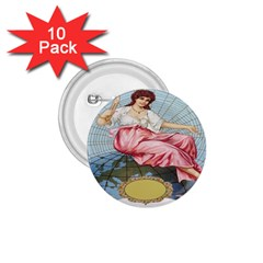 Vintage Art Collage Lady Fabrics 1.75  Buttons (10 pack)