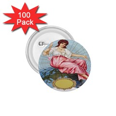 Vintage Art Collage Lady Fabrics 1.75  Buttons (100 pack)