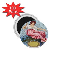 Vintage Art Collage Lady Fabrics 1.75  Magnets (100 pack)