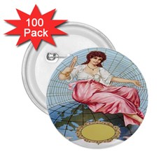 Vintage Art Collage Lady Fabrics 2.25  Buttons (100 pack)