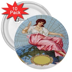 Vintage Art Collage Lady Fabrics 3  Buttons (10 pack)