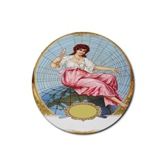 Vintage Art Collage Lady Fabrics Rubber Round Coaster (4 pack)