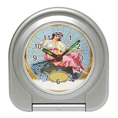 Vintage Art Collage Lady Fabrics Travel Alarm Clocks