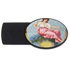 Vintage Art Collage Lady Fabrics USB Flash Drive Oval (4 GB)