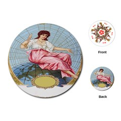 Vintage Art Collage Lady Fabrics Playing Cards (Round)