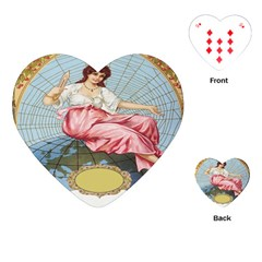 Vintage Art Collage Lady Fabrics Playing Cards (Heart)