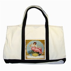 Vintage Art Collage Lady Fabrics Two Tone Tote Bag