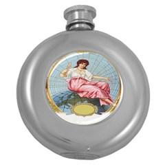 Vintage Art Collage Lady Fabrics Round Hip Flask (5 oz)