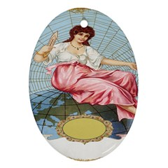 Vintage Art Collage Lady Fabrics Oval Ornament (Two Sides)