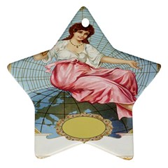 Vintage Art Collage Lady Fabrics Star Ornament (two Sides)