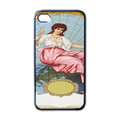 Vintage Art Collage Lady Fabrics Apple iPhone 4 Case (Black)