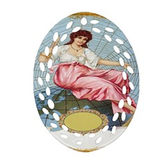 Vintage Art Collage Lady Fabrics Oval Filigree Ornament (two Sides)