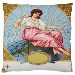 Vintage Art Collage Lady Fabrics Large Cushion Case (Two Sides)