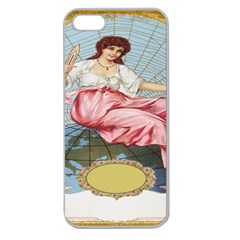 Vintage Art Collage Lady Fabrics Apple Seamless iPhone 5 Case (Clear)